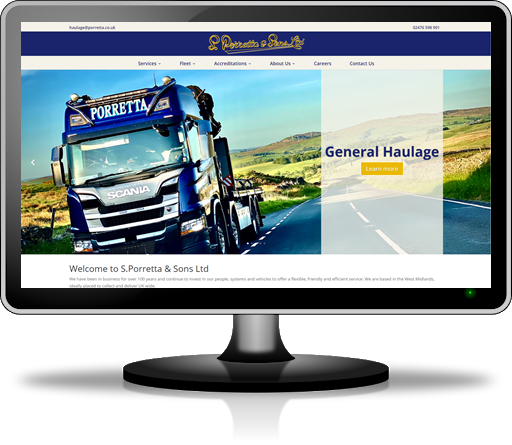 Web design for haulage firms in Hertfordshire